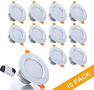 Kitchen 7W Gr4tec Set of 10 LED Recessed Lights for Ceiling White Downlights Spot Lights for Bathroom AC85-265V Living Room or Bedroom 700LM Replace 70W Incandescent Cool White 6000k 80Ra