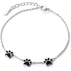 S925 Sterling Silver Puppy Dog Cat Pet Paw Print Bracelets