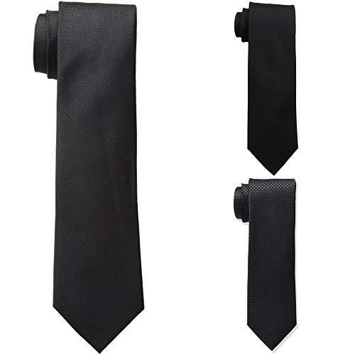Calvin Klein Men's Black Tie, Black Solid/Black Gingham/Black Micro Solid, Regular
