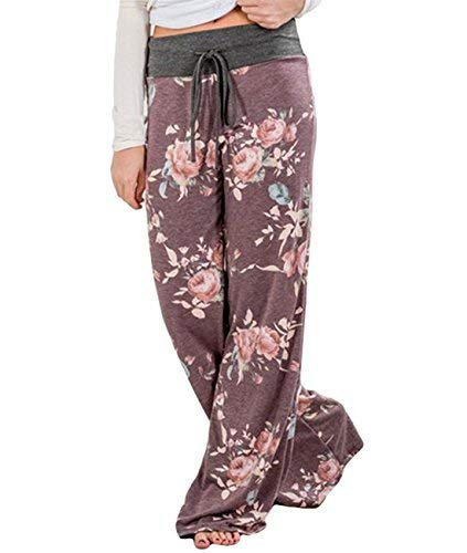 Buauty Women's Casual Pajama Pants Floral Drawstring Wide Leg High Waist Palazzo Lounge Pants Purple