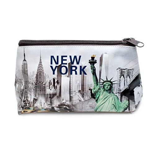 New York City NY Times Square, Empire State, Chrysler Building, Brooklyn Bridge, NYC Souvenir Print Mini Purse, Pencil Case, Makeup Cosmetic Bag (Liberty)