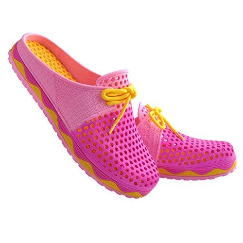 Soleil Lorence Été Confortable Maille Respirante Sandales Chaussure De Jardin Pantoufle Couple Plage Chaussures Rose Rouge