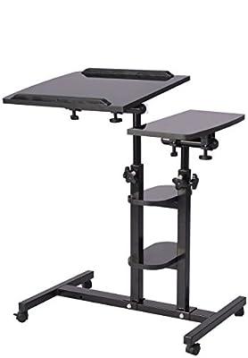 EaseOffice Angle & Height Adjustable Mobile Laptop Desk Cart Rolling Laptop Desk Cart Over Bed Hospital Table Stand