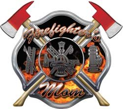 - Firefighters Mom Inferno Maltese Cross Decal with Axes - 4