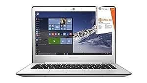 """Lenovo U31-70 - Portátil de 13.3"""" Full HD (Intel Core I5-5200U, 8 GB de RAM, 500 GB de disco duro y SSD 8 GB, gráfica NVIDIA GT 920A de 2 GB, Windows 8.1 + Licencia 1 año Office 365 Personal), blanco - Teclado QWERTY Español"""
