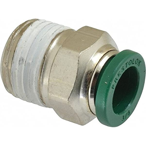 Brass 1//2 and 3//8 Parker 68PLM-8-6-pk10 Prestolok PLM Metal Push-to-Connect Fitting Push-to-Connect and Male Pipe Connector Tube to Pipe 1//2 and 3//8 Nickel Plated Pack of 10