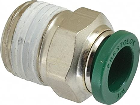 3//8 Push-to-Connect Tube x 1//8 Male NPTF Parker Hannifin W68PLP-6-2-pk10 Prestolok PLP Male Connector Push-to-Connect Fitting Nickel Plated Brass Pack of 10
