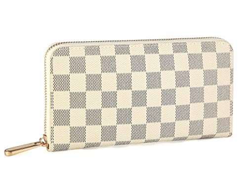 Miracle Checkered Zip Around Wallet | RFID Blocking | Phone Clutch/Card Holder/Organizer for Men Women | PU Vegan Leather (cream)