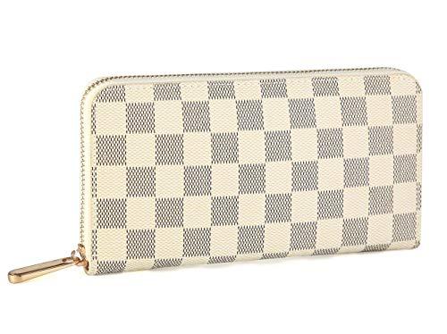 Organizer Zippy Vuitton Louis (Miracle Checkered Leather Zipper Around Wallet with Phone Clutch/Card Holder/Bill Organizer for Men and Women (Cream))