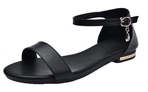 VogueZone009 Women Open-Toe Buckle Low-Heels Pu Solid Sandals Black