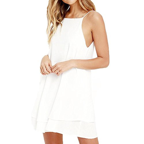 Kimloog Women's Summer Halter Neck Spaghetti Straps Sleeveless Backless Beach Dress Hem Mini Sundress (M, White) -