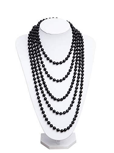 Vintage Jewelry Accessory - 1920s Pearls Necklace Gatsby Accessories Vintage Costume Jewelry Faux Ivory Pearl Cream Long Necklace for Women (Black-1)