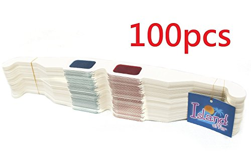 100 Pairs of Red/Cyan Cardboard 3D Glasses - Folded in Protective Sleeve