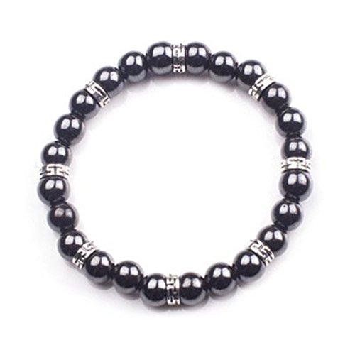 Healing Bracelets Magnetic Black Gallstone Hematite Therapy Beads Bracelets Fashion Bracelet Handmade for Women Mens Kids Birthday Christmas Valentine's day Gifts 2pcs/set