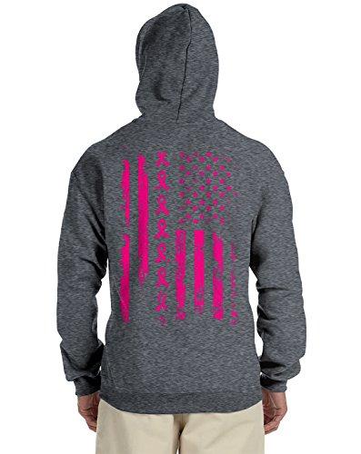 Pink Ribbon American Flag Breast Cancer Back Print Hooded Sweatshirt, Charcoal Large - American Flag Hooded Sweatshirt
