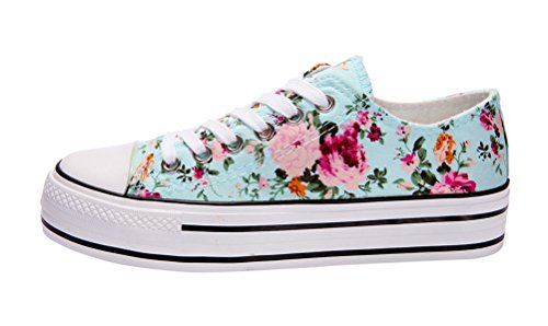T&Mates Womens Fashion Lace-up Cap-Toed Platform Flower Print Canvas Flat Sneakers (7 B(M)US,Blue)