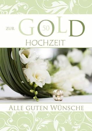 Karte Hochzeit Gold Glimmer Ringe Blumen 5 Stuck Amazon De