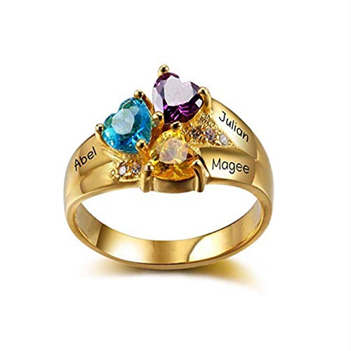 (Custom 3 Heart Birthstone Ring Engraved Name Silver Ring for Mother)