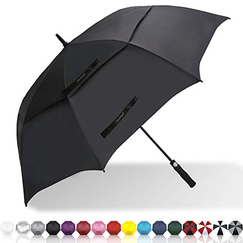 Vedouci Large Oversize Golf Umbrella Double Canopy Vented Windproof Stick Umbrella with Teflon Coating, Automatic Umbrellas Anti UV Coating Golf Umbrellas,Black