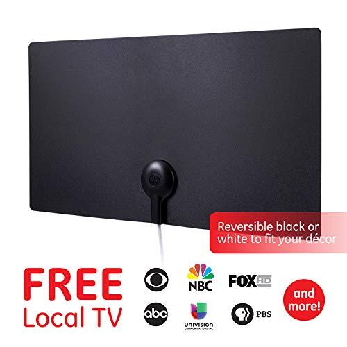 TV Antenna for Digital TV Indoor, Digital HDTV Antenna Long Range, Black/White Reversible, 6 Feet Coax Cable, 11264