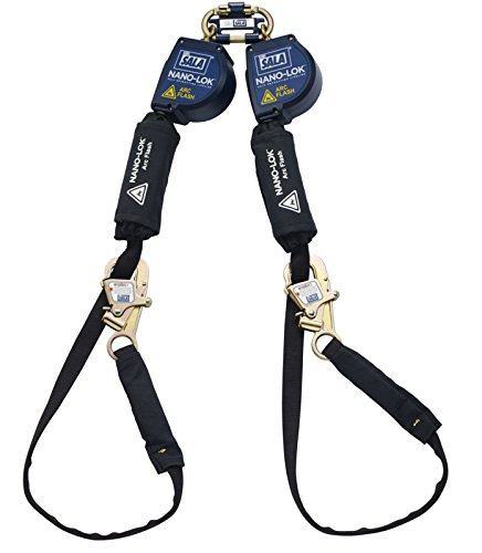 Arc Flash Personal Protective Equipment - 3M DBI-SALA Nano-Lok 3101565 Arc Flash 11' 100-Percent Tie-Off Tie-Back Unit with Twin Leg Connector and Tie-Back Hook Ends, Blue/Black