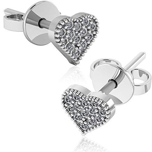 .925 Sterling Silver & Pavé-Set Cubic Zirconia Petite Stud Earrings - Love Heart ()