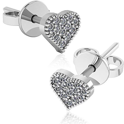 (.925 Sterling Silver & Pavé-Set Cubic Zirconia Petite Stud Earrings - Love)