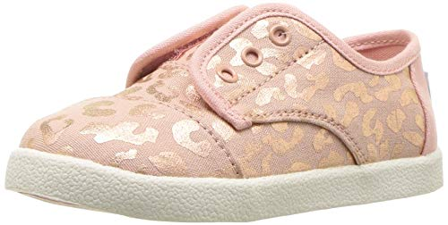 TOMS Girls' Paseo Sneaker, Rose Gold slub Chambray Cheetah Print, 2 T US Little ()