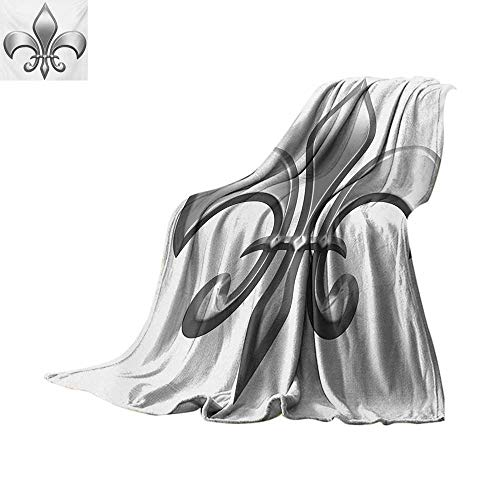 Fleur De Lis Throw Blanket Lily Flower Symbol Nobility of Knights in Medieval Time European Iris Icon Custom Design Cozy Flannel Blanket 62