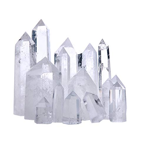 Tree Jewelry Natural Rock Crystal Point 6 Faceted Clear Quartz Crystal Wand, 1 Pound for Healing, Reiki, Grids, Figurine Specimen Displays