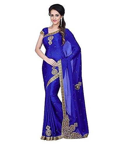 b222427c7a26af Sareeshop Silk Saree With Blouse Piece (J1017 Blue Free Size ...