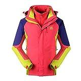 Reopen Girl's Outdoor 3 in 1 Sports Jacket Mountain Waterproof Ski Jacket Inner Detachable Fleece Coat (120/56A, Red)