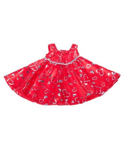 Red & Silver Dress Teddy Bear Clothes Outfit Fits Most 14