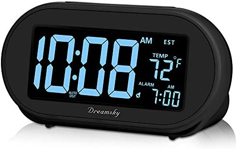 DreamSky Auto Time Set Alarm Clock with Snooze Full Range 0-100 Dimmer, USB Charging Station Phone Charger, Auto DST, 4 Time Zones Clocks for Bedrom