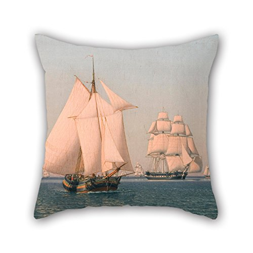 Beautifulseason Oil Painting Christoffer Wilhelm Eckersberg - Ships Under Sail In A Mild Breeze On A Clear Summer's Afternoon Pillow Cases ,best For Relatives,monther,play Room,lover,bedroom,her (Rage Rubber Wig)