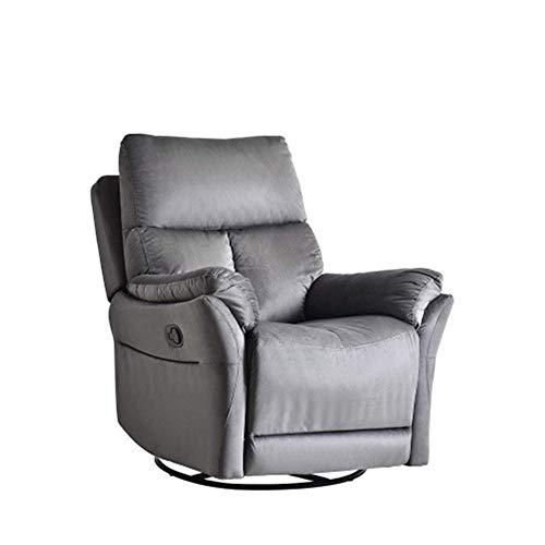 ZHONGYUE Sofa, TREXM Gilder Recliner Chair for Living Room, Classic Upholstered and Soft Microfiber Backrest and Armrest Oversize Rocker 360 Degree Swivel (Color : Gray)