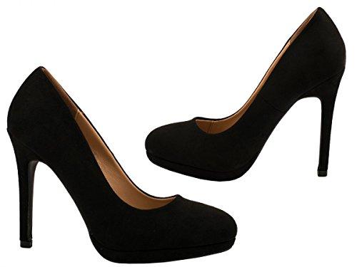Elara Damen Pumps | Moderne Abendschuh Stilettos | Plateau High Heels Schwarz Wildlederoptik