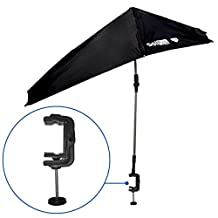 SolPro Clamp-On Shade Umbrella – 4 Way Clamp Umbrella with 360 Degree Swivel and Push Button Hinge. Great for Beach Chairs, Bleachers, Strollers, Wagons, Wheel Chairs or Golf Carts (Black)