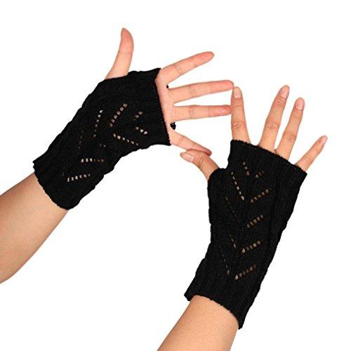 ABC 2016 Fashion Knitted Arm Fingerless Winter Gloves Unisex Soft Warm Mitten (Black)