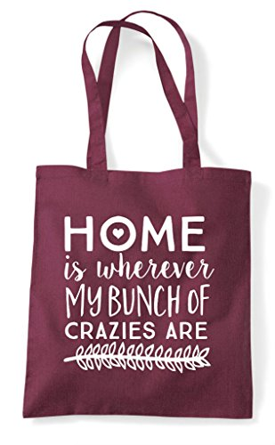 Shopper Of Are My Where Home Bag Burgundy Bunch Is Statement Tote Crazies IqxCvOw