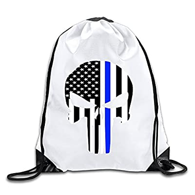 LCNANA Thin Blue Line Skull Personality One Size Rope Bag