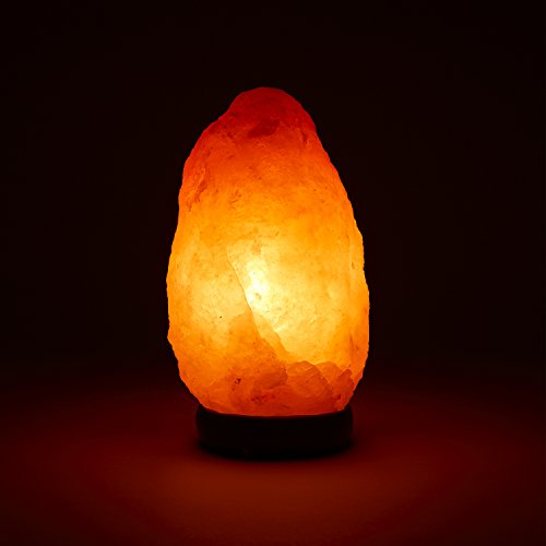 Himalayan Salt Lamp 10-12 (11-15 lb) with Dimmer Switch - All Natural and Handcrafted with Wooden Base and an Extra Bulb