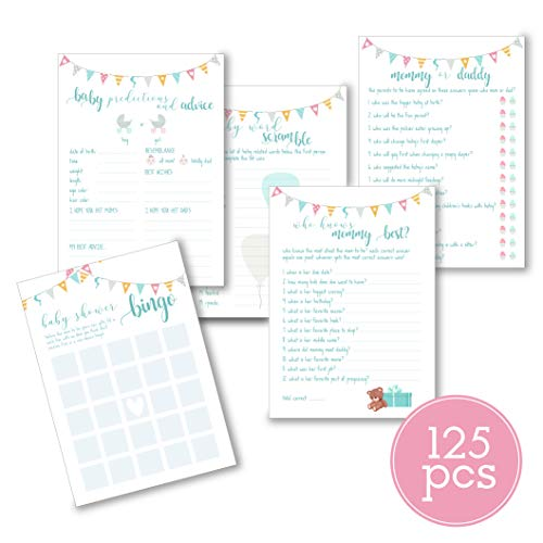 Baby Shower Games | Pack of 5 Different Games & Activities (25 Cards Each) | Baby Predictions, Scramble, Bingo, Mommy & Daddy, Who Knows Mommy | Fun, Unique, and Easy to Play | by The Chic Mom Company]()