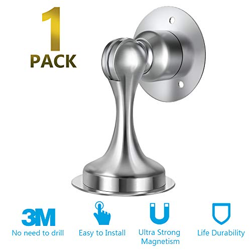 Door Stopper, Magnetic Door Stop, Stainless Steel, Magnetic Door Catch, 3M Double-Sided Adhesive Tape, No Drilling, Screws for Stronger Mount, Hold Your Door Open, 1 Pack to Have a Try
