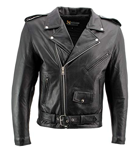 Xelement B7101 'Classic Armored' Men's Black High-Grade Leather Motorcycle Biker Jacket with X-Armor Protection - Large