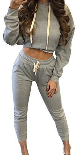 Crop Pants Suit (KunLunMen Womens Sweatshirt Hooded Crop Tops And Sweatpants Two Piece Tracksuit Outfit)