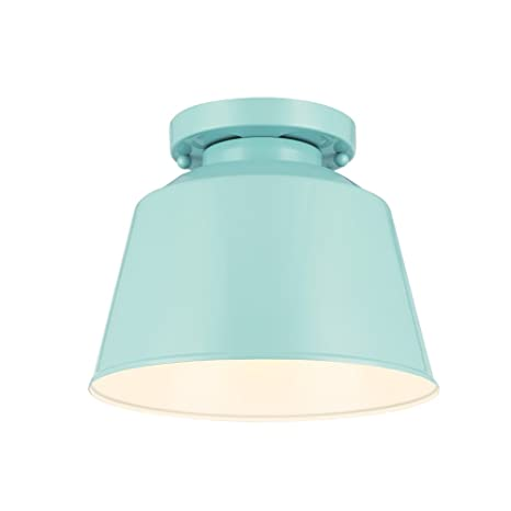 Feiss sf314shbl freemont 1 light semi flush mount in hi gloss blue