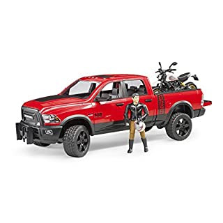 bruder Ram 2500 Power Wagon with Ducati Scrambler Desert Sled and Driver Vehicles Toy