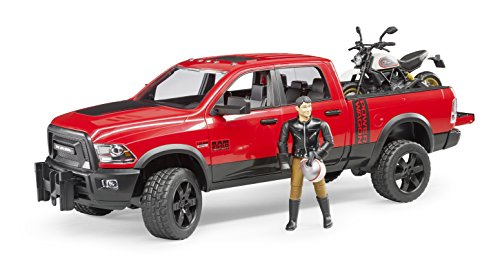 Rider Truck - Bruder Ram 2500 Power Wagon with Ducati Scrambler Desert Sled and Driver Vehicles Toy
