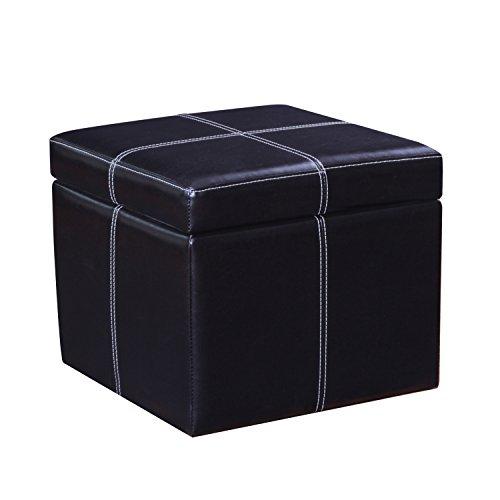 Joveco Bonded Leather Cross Stitch Square Cube Storage Ottoman (Black)